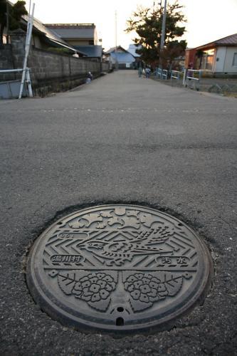 会津・湯川村のマンホール2(1の撮影現場)