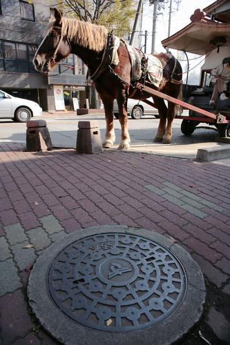 喜多方市のマンホール17(16の撮影現場)