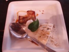 バナナケーキと豆乳のムース
