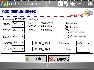 default settings at CPU 400 Mhz on Pocket Hack Master v4.08.023