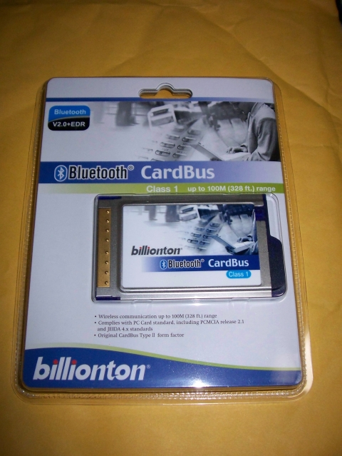 billionton PCMCIA CardBus Bluetooth EDR 2.0 Class 1 Adapter