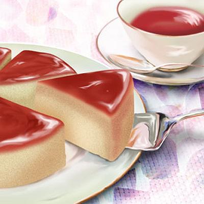 イラスト:チーズケーキと紅茶