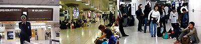 台風で駅のコンコース内に足止めされた乗客