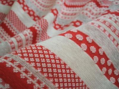 赤いボーダー綿ニット