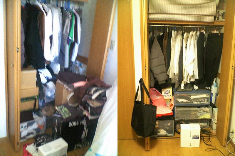 服は収納せず、積み上げていくだけでしたw