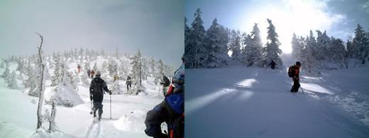 左:ハイクアップ中 右:途中のパウダー