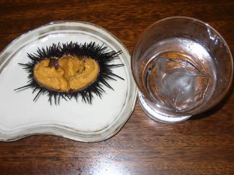 活ウニと芋焼酎