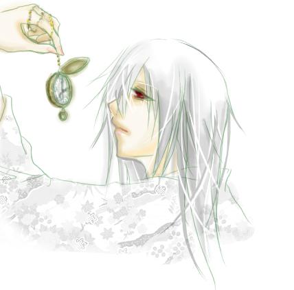 白髪青年+時計(和風)