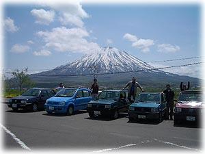 去年の春の走行会にて 羊蹄山(蝦夷富士)とPANDAたち♪
